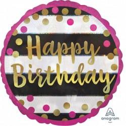 Heliumballon 'Happy Birthday' standaard roze met goud