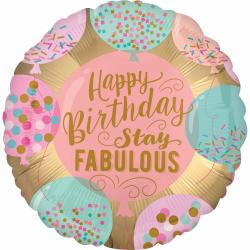 Heliumballon 'Happy Birthday Stay Fabulous'