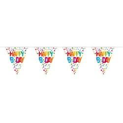 Vlaggenlijn stippen 'Happy Birthday'