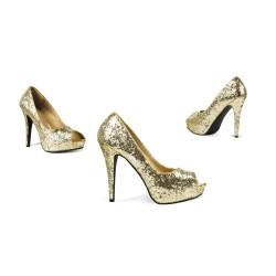 Gouden glitter pumps
