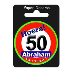 Button verkeersbord - Abraham 50 jaar
