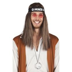 Set peace hoofdband, bril en ketting