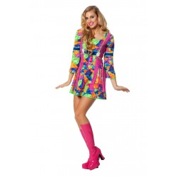 Jurk flower power multi color