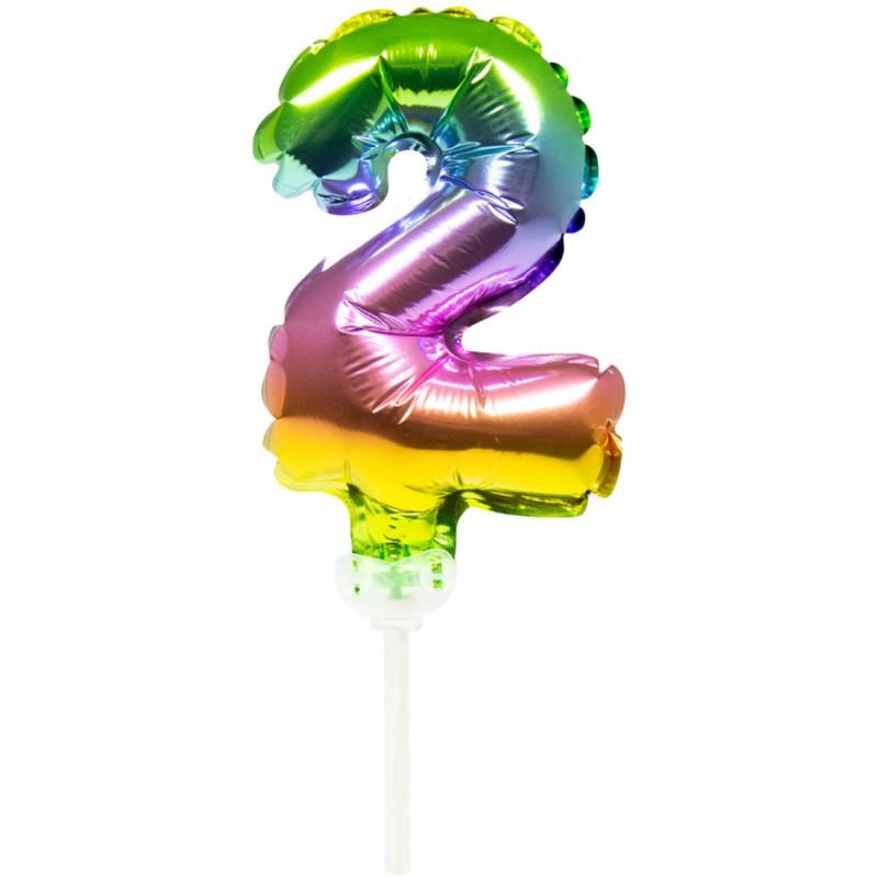 Ballon cijfer 2 regenboog 13cm