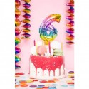 Ballon cijfer 3 regenboog 13cm