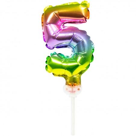 Ballon cijfer 5 regenboog 13cm