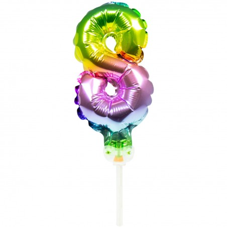 Ballon cijfer 8 regenboog 13cm