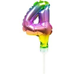 Ballon cijfer 4 regenboog 13cm