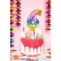 Ballon cijfer 6 regenboog 13cm
