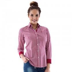 Tiroler overhemd rood/wit fijn geblokt