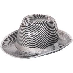Gestreepte hoed zilver/zwart