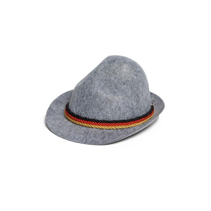 Tiroler hoed grijs zwart/rood/geel