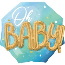 Heliumballon 'Oh Baby' jongen XL 3D