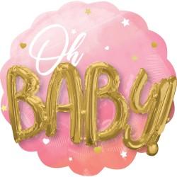 Heliumballon 'Oh Baby' meisje XL 3-D