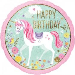 Heliumballon 'Happy Birthday' eenhoorn