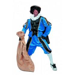 Kostuum Piet imitatie fluweel blauw/zwart