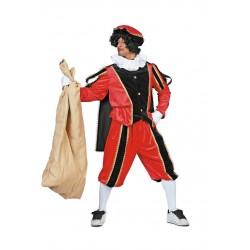 Kostuum Piet imitatie fluweel rood/zwart