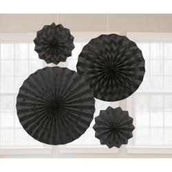 Decoratie fans glitter zwart
