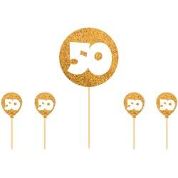 Caketopper 50 goud