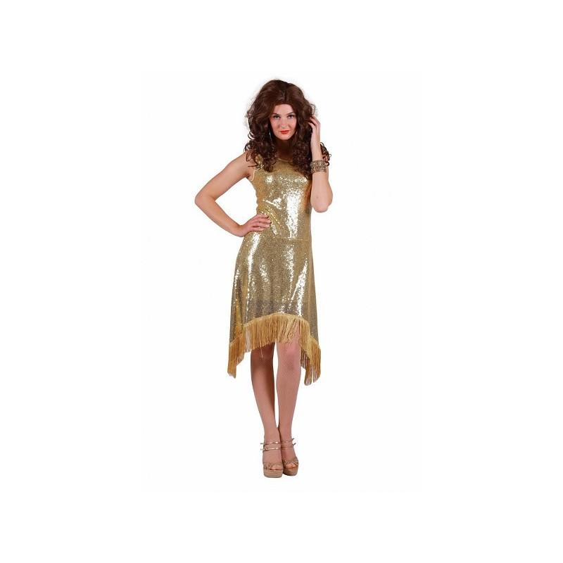 Glitter jurk goud