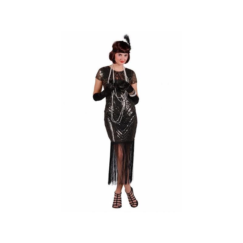 Roaring 20's jurk zwart met zilver