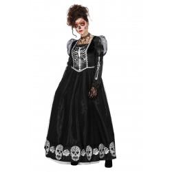 Zwarte jurk met skelet