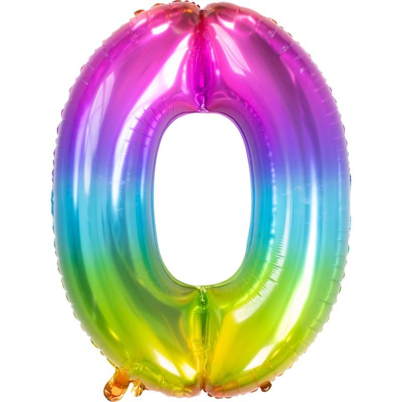 Ballon cijfer 0 regenboog 86cm