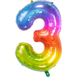 Ballon cijfer 3 regenboog 86cm