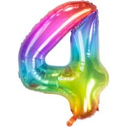 Ballon cijfer 4 regenboog 86cm