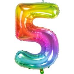 Ballon cijfer 5 regenboog 96cm