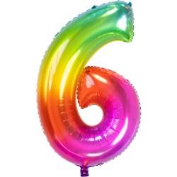 Ballon cijfer 6 regenboog 86cm