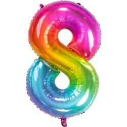 Ballon cijfer 8 regenboog 86cm