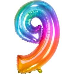 Ballon cijfer 9 regenboog 86cm