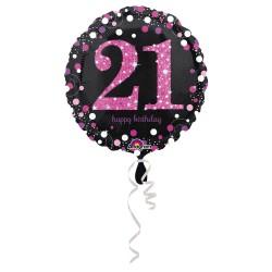 Folie ballon 21 metalic roze