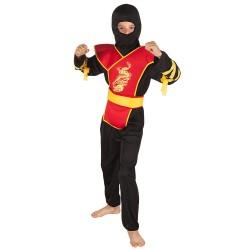 Kostuum ninja zwart/rood