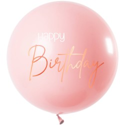 Roze ballon 'Happy birthday' 80cm