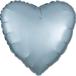 Heliumballon hart mat pastel blauw standaard