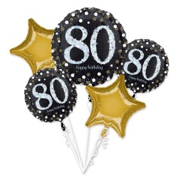 Heliumballonnen boeket 80 metallic goud