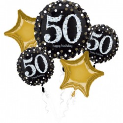 Heliumballonnen boeket 50 metallic goud