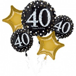 Heliumballonnen boeket 40 metallic goud