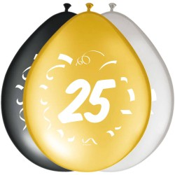 Ballonnen 25 jaar goud, zilver, zwart