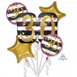 Heliumballonnen boeket 30 goud en roze