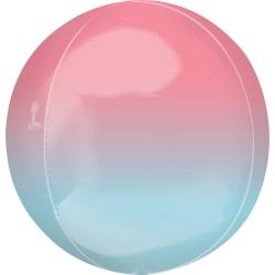 Heliumballon Orbz pastel roze en blauw