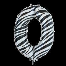 Ballon cijfer 0 zebra