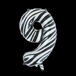 Ballon cijfer 9 zebra