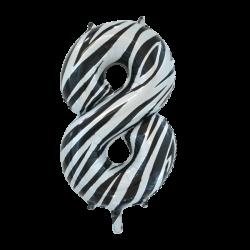 Ballon cijfer 8 zebra