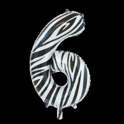 Ballon cijfer 6 zebra