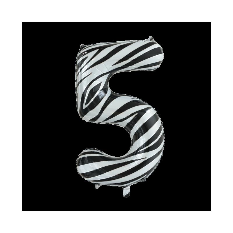 Ballon cijfer 5 zebra