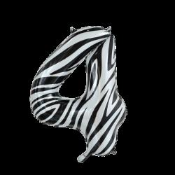 Ballon cijfer 4 zebra