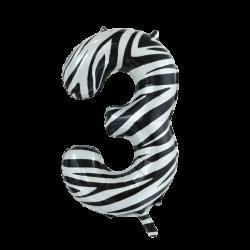 Ballon cijfer 3 zebra